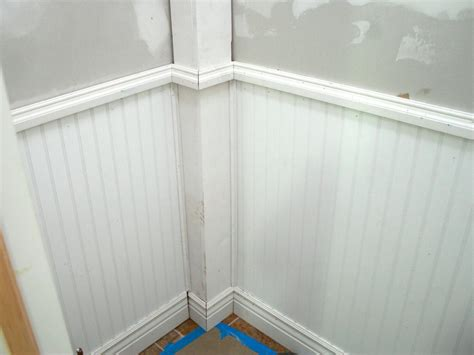 Beadboard Wall Paneling : Wainscoting And Tiling A Half Bath
