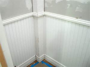Wainscoting and tiling a half bath hgtv for Installing wainscoting in bathroom