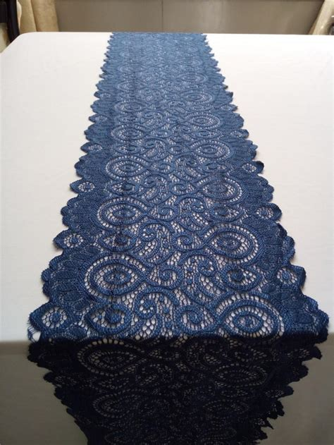 navy blue table runner lace table runner wide stretch