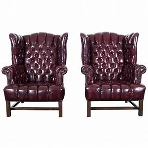 Vintage, Leather, Tufted, Wingback, Chairs, For, Sale, At, 1stdibs