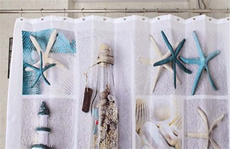Morning-sunshine 72 X 72 Inch Nautical Shower Curtains Sea World Starfish Shell Shower Curtain Shower Curtains Ideas Curtain Rod Up Hanging From Ceiling Harry Corry Black Pole For Wide Living Room Windows Hotel Collection Fabric Liner Double Stall Rods Curved