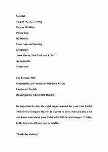 Cub Cadet 7300 Compact Tractor Repair Service Manual