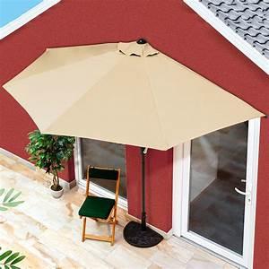 balkon sonnenschirm halbrund beige von gartner potschke With französischer balkon mit sonnenschirm balkon beige
