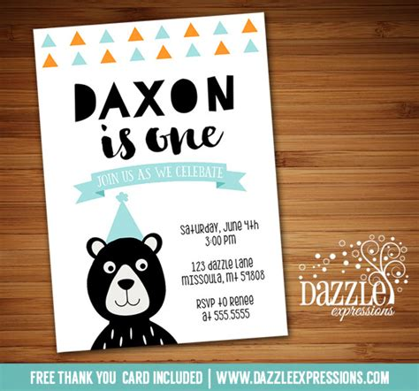 printable modern black bear birthday invitation woodland