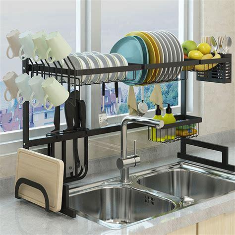 stainless steel  tier dish drying rack  sink drainer shelf storage rack kitchen cutlery