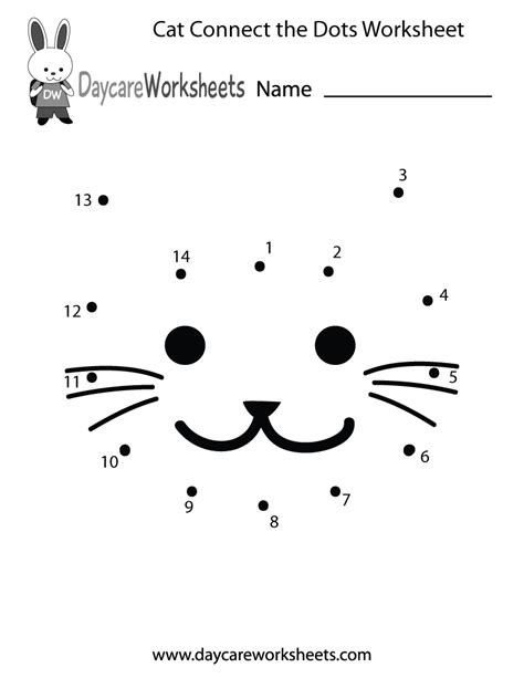 free printable cat connect the dots worksheet for preschool
