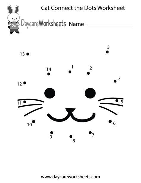 preschool cat connect  dots worksheet