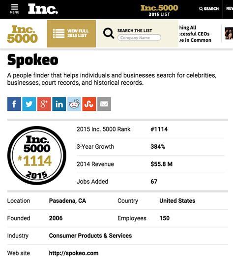 spokeo phone number spokeo ranks on prestigious inc 5000 list 171 spokeo