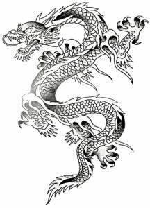Grey Ink Chinese Dragon Tattoo Design   samurai ...