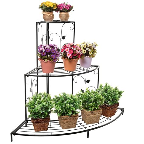 delightful 3 tier flower planters design with wrought iron