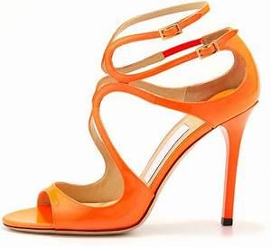 Jimmy Choo Lang Patent Strappy Sandal in Orange NEON