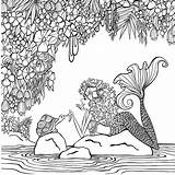 Coloring Pages Zendoodle Mermaid Paradise Books Printable Cleverpedia Mermaids Getcolorings Colouring Klette Denyse Presents Artist Drawings sketch template