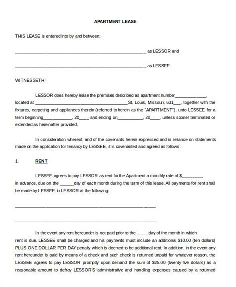 Sublease Contract Template Word Format