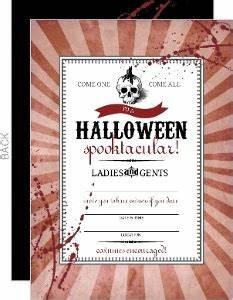red steampunk skull halloween wedding invitation With blank halloween wedding invitations