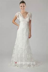 best lovely v neck short sleeve lace wedding dress cheap With wedding dresses with short sleeves