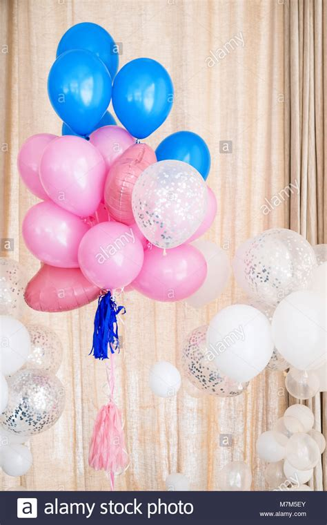 pink and white balloon decorations blue silver balloons background stock photos blue silver