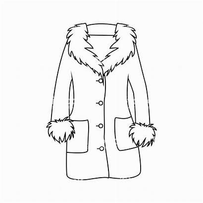 Coat Winter Outline Cartoon Fur Coloring Coats