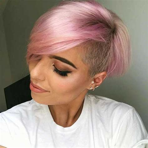 totally adorable pink colored short hairstyles  love