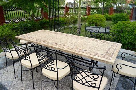italian mosaic marble patio garden table 78 quot 94 quot tuscany