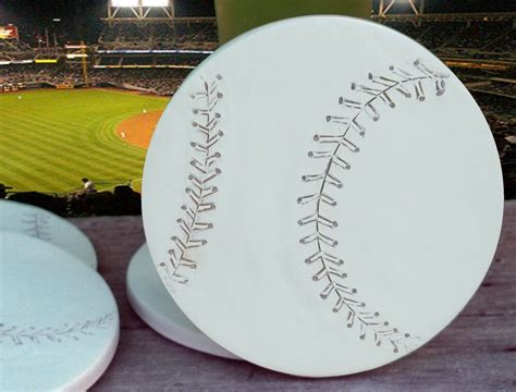 Clay Drink Coasters, Baseball Absorbent Drink Coasters Set