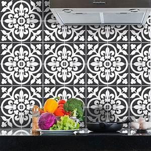 Stickers Carreaux De Ciment Cuisine : 60 stickers carreaux de ciment classiques nuance de gris ~ Melissatoandfro.com Idées de Décoration