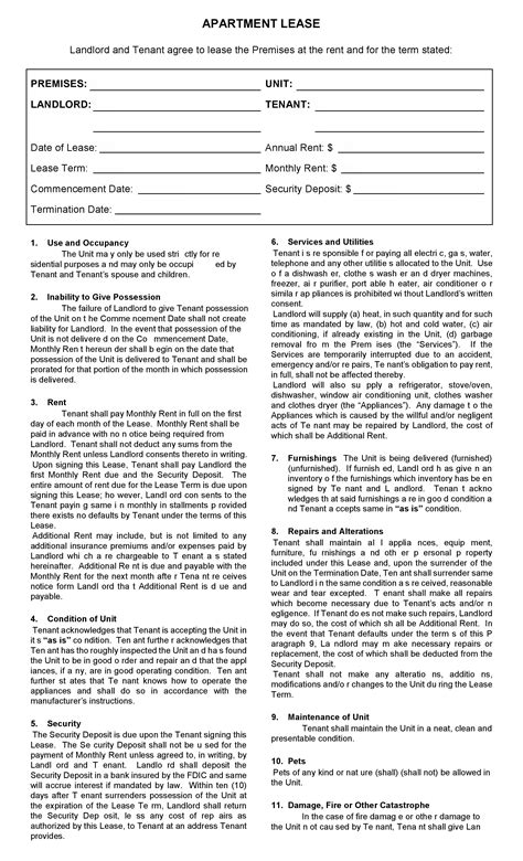 apartment lease free printable apartment lease agreement printable agreements