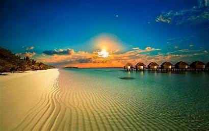 Sunset Tropical Beach Landscape Resort Palm Trees