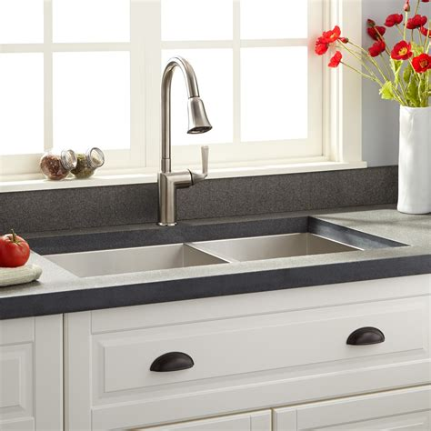 square sink kitchen 33 quot executive zero radius 60 40 offset bowl 2449