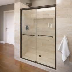 basco infinity 58 1 2 in x 70 in semi frameless sliding shower door in rubbed bronze with