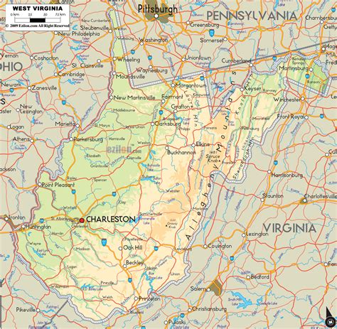 Physical Map of West Virginia - Ezilon Maps