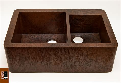 discount copper farmhouse sinks buy farmhouse 60 40 kitchen copper sink in cafe viejo