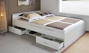 Lit 140 Avec Rangement : lit avec rangement 140 x 200 cm mega 3 1 ton blanc sb meubles discount ~ Teatrodelosmanantiales.com Idées de Décoration