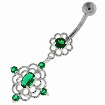 Belly Button Cut Navel Jeweled Ring Flower