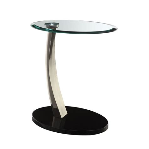 black glass end table powell black glass top side table 317 892 the home depot