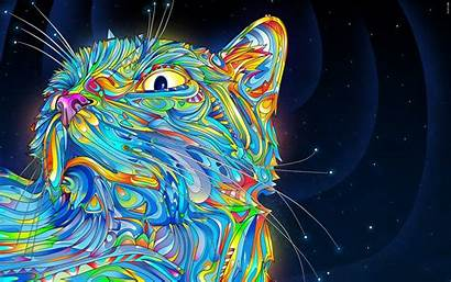 Abstract Psychedelic Colorful Cat Animals Wallpapers Desktop