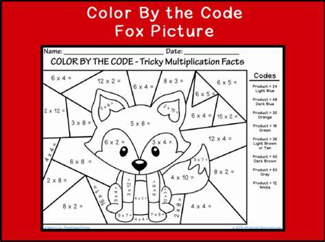 color   code multiplying fox printable worksheet