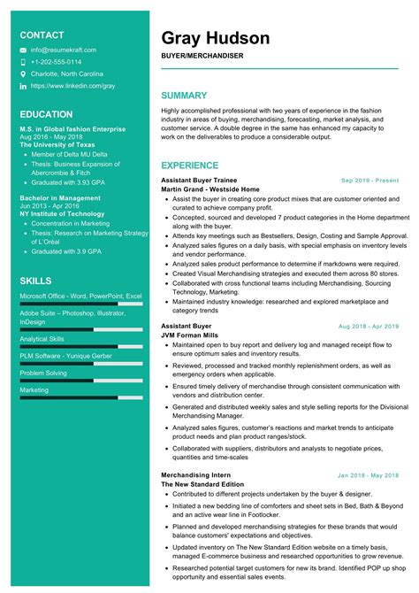 merchandiser resume sample resumekraft
