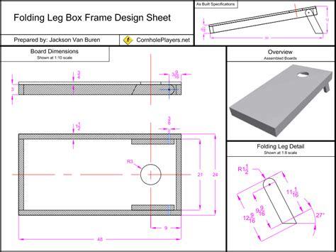 folding leg box frame design spec sheet  cornhole