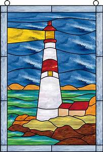 atlantic, ocean, lighthouse, stained, glass, window, panel