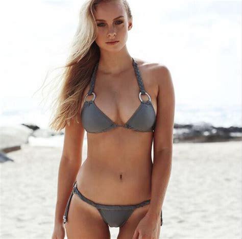 Sexy Mental Ring Knitting Bikini Swim Sex Bath Swimwear