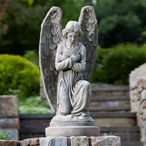 outdoor angel statues alfresco home kneeling garden statue at hayneedle