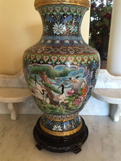 Vase Stand Decor Vase Flower Vase by Ships Free Vintage Large Brass Black Cloisonne Vase Carved