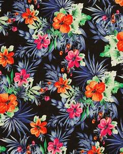 Cotton Lawn Fabric - Tropical Print on Black | Patterns ...