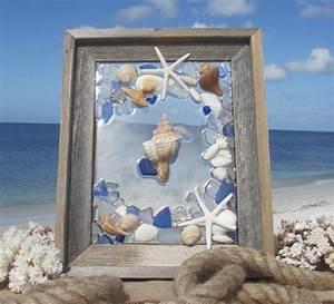 Sea, Glass, Wall, Art, Beach, Glass, Art, With, Shells, And, Starfish, Beach, House, Decor, Barn, Wood, Frame