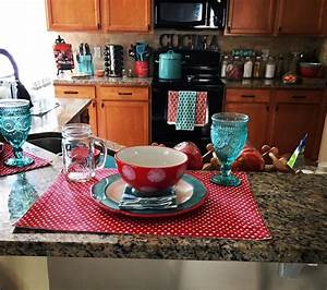 Pioneer Woman Inspired Kitchen Turquoise And Red Polka