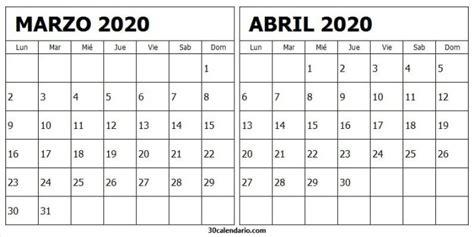 foto de Marzo Y Abril Calendario 2020 Calendario mensual