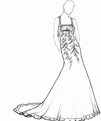 Coloring Pages Prom Dresses Barbie Drawing Maxi