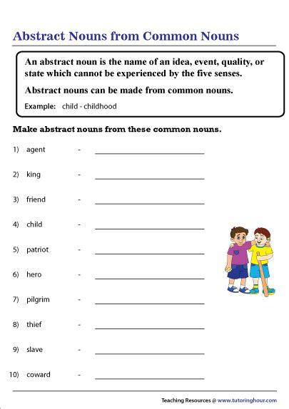 abstract noun worksheets grade  worksheets master
