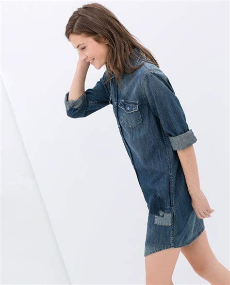 zara patched denim shirt dress dresses