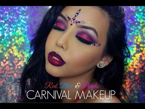 carnival makeup red blue purple eyes chanelle